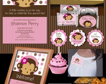 Pink Mod Pod Pop Monkey Deluxe Baby Shower Collection Printable Files