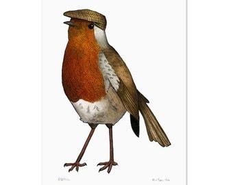 Robin in a Flat Cap - A3 Print