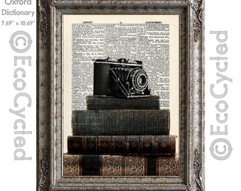 Old Camera on Antique Books Vintage Upcycled Dictionary Art Print Book Art Print Recycled upcycled book page book lover art book lover gift