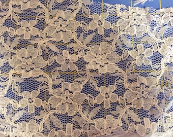 Cream Floral Lace Fabric
