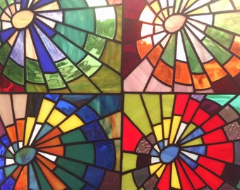 Hipster Tie Dye stained glass panel