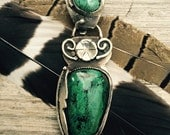 Chrysocolla and Turquoise Pendant with Feather Sterling Silver Handmade