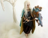 Art cloth doll princess and needle felted dragon Puff baby soft creation unique gift