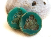 Buddha beads, dark Turquoise glass beads, czech beads, picasso beads, large, round, table cut, buddhist - 23mm - 2Pc - 2364