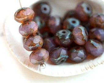 Opal pink beads, picasso beads, czech glass beads, pink spacers, rondel, gemstone cut, fire polished, faceted - 4x7mm - 25pc - 2039