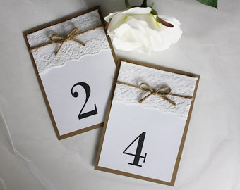 Rustic Wedding Table Numbers, Lace Wedding, Lace Table Numbers, Vintage Table Numbers, Rustic Wedding, Table Numbers