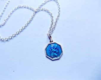 Sterling Silver Blue Enamel St Christopher Travelling Protection Necklace, Graduation Gift, Travelling Jewelry, Travelling Gift