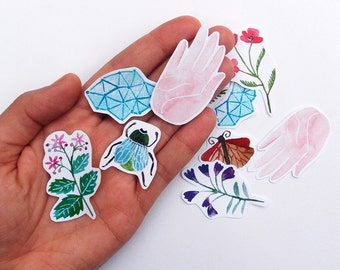 Megacosm Nature Stickers for Gift Wrapping and Letter Writing! Featuring Beetle, Moth, Constellations and Hands