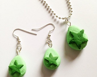 Lush kitchen green day bubble bar necklace and earrings set pendant polymer clay handmade handcrafted kawaii
