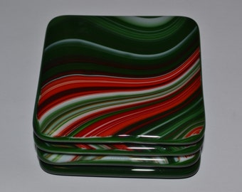 Green, Red, and White Glass Coaster Set