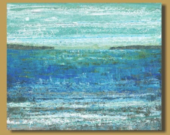 abstract art, abstract painting, beach landscape painting, abstract ocean painting, blue, mediterranean, impressionism 20x24