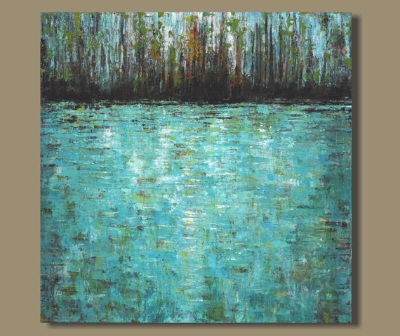 Abstract painting lily pond abstract pond by - Peinture avec effet texture ...