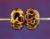 Jungle Spots Handmade Lampworked Glass Beads OOAK Pair Rondelles Amber Yellow Brown Lampwork