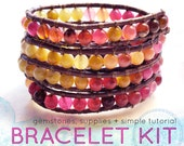 leather wrap bracelet diy kit: agate gemstones reds pink citron yellow leather bracelet