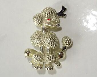 Vintage Poodle Brooch, Small Silver Tone