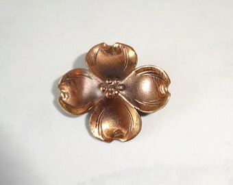 Vintage Stuart Nye Copper Dogwood Flower Brooch Pin
