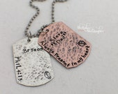 Hand Stamped Jewelry - Dog Tag Necklace - Personalized Jewelry - Mens Gift - Id Tags - Custom Dog Tags - Valentines Day Gift