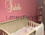 "SPECIAL PRICING - Connected Wooden Name - Painted - 18"" Size - Large Elegant - Wood Letters - Personalized Nursery Family Wall Decor"