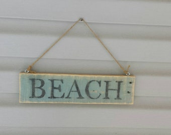 "Reclaimed wood ""BEACH"" sign. Made to order home decor sign"