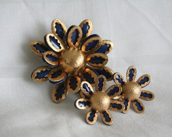 Navy Enamel with Gold Overlay Brooch and Earrings