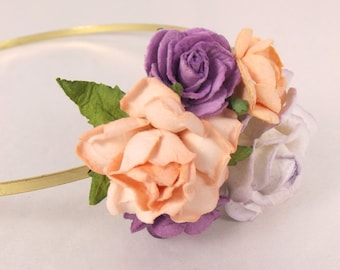 Floral fascinator with Purple and Peach Flowers Vintage Wedding Party Bridal Accessory Bridesmaid statement