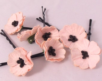 Pink Poppies hairpins Pins Bobbypins Wedding Party Bridal Accessory Bridesmaid statement