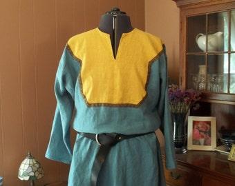 DISCOUNTED - Dusty Light Blue Linen Four-Gore Bocksten Viking Tunic with Dark Yellow Yoke