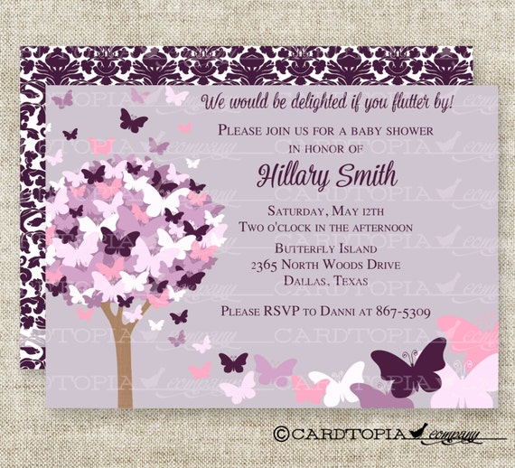 Butterfly Baby Shower Invites: BUTTERFLY BABY SHOWER Invitations Pink Purple Butterfly Fairy