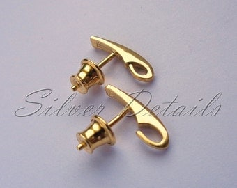 Gold Vermeil over Sterling Silver Ear Posts with Earnuts 925 model E91Y