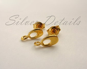 Beautiful European Gold Vermeil over Sterling Silver Ear Posts with Earnuts 925 model ES55 AU