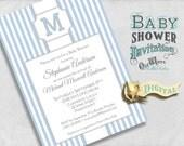 Stately Stripes Monogram Baby Shower Invitation for a Boy Blue and White - Custom Printable Baby Shower Invite - 5x7 Digital File