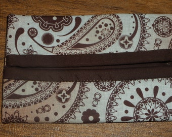 Brown Paisley Print Fabric Travel Tissue Pouch/Holder