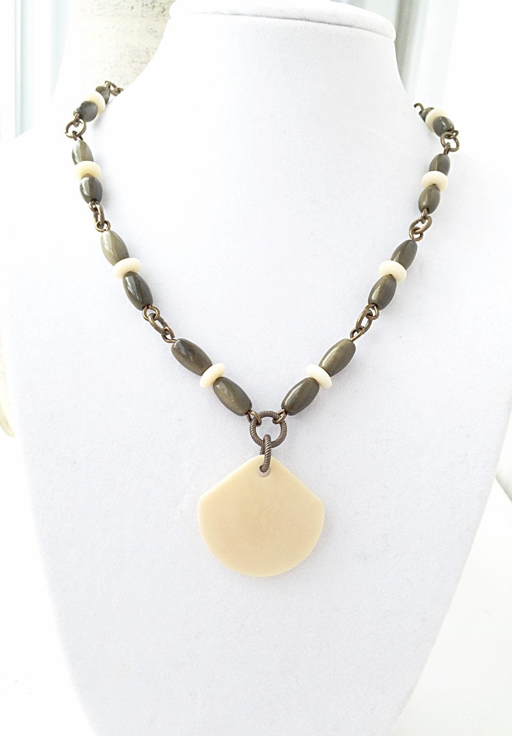 tagua nut jewelry olive green necklace large fan pendant