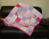 Quilt,bed throw,sofa throw, handmade patchwork quilt pinks,purples,hand stitched and hand dyed,buttons,Approx 91 x 65 inches