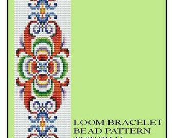 Bead Loom Vintage Motif 1, 2, 3 Multi-Color Bracelet Pattern PDF