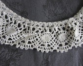 Vintage Cotton Lace Trim, 6+ yards cotton cluny ruffled lace, DIY weddings, Sewing supply, crochet look lace, scrapbooking, gathered lace