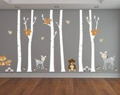 Nursery decals - Brich trees - Wall decal - tree decal - Bear decal -  deer decals - Fox decal - set of trees - Vinyl tree decal -