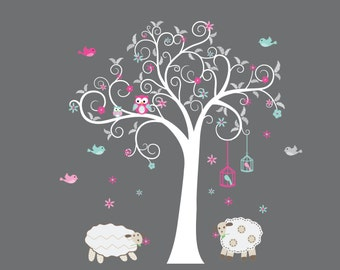 Nursery decals - Wall decal - Owl tree decal - Lamb decal - Bird cage - Flowers - Tree- Girl tree - Vinyl tree decal - Vinyl decals