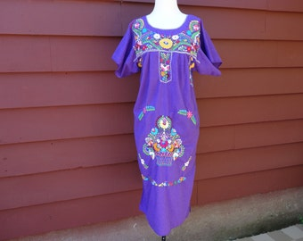 Embroidered FLORAL Purple Mexican ETHNIC Fiesta DRESS