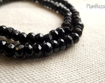 "Obsidian beads, 15 "" strand 6mm faceted rondelles"