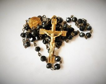 ROSARY 1800s Antique Priest  Hand Cut Black Glass GOLD Wash Over Brass Rosary†† Collectible Estate Rosary