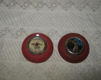Souvenir Ashtrays Purse Size, 1950's Hawaii and Colorado Souvenirs