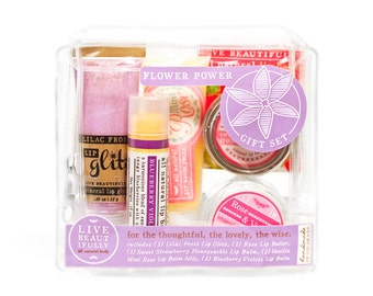 Flower Power Gift Set - All Natural Body Product Gift Set - Lip Balm, Lip Butter, Lip Jelly, Lip Gloss