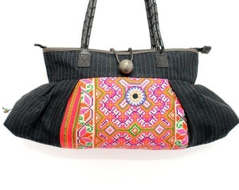 Tote Bag Vintage HMONG Fabric Unique Handmade Leather Strap Fair Trade (BG361.3)