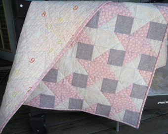 Interlocking Stars Quilt, Pink and Gray Quilt, Flower Quilt, Baby Girl Quilt, Numbers Quilt