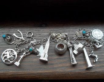 Sterling Silver 16 Charms Bracelet
