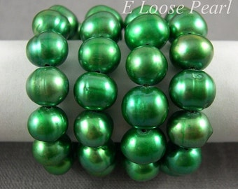 Potato pearl Large hole pearl Freshwater Pearl Round pearl,loose pearl Potato pearl necklace pearl 7.5-8.5mm Green Full Strand PL2066