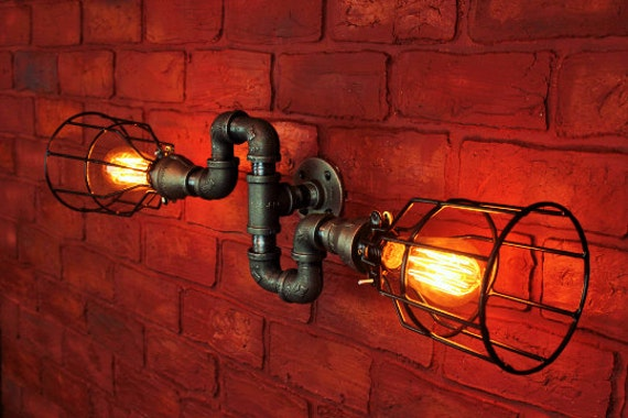 Excellent  Wall Vanity Light Steampunk Pipe Lamp Pipe Light Indust