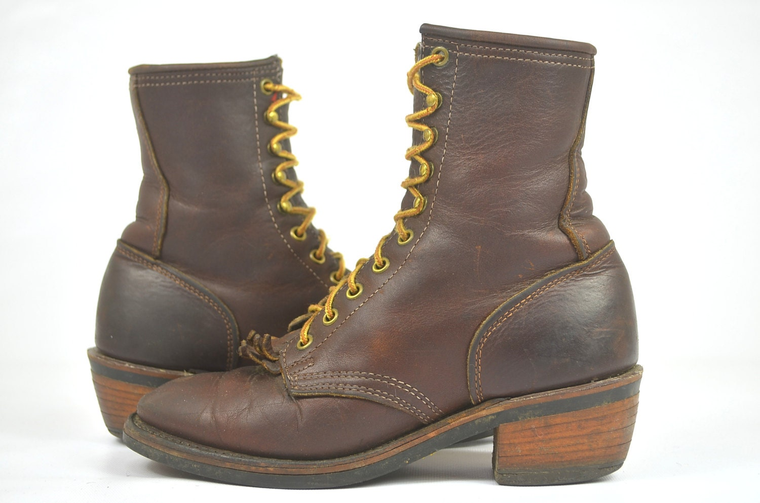 vintage packer whites style roper boots womens 7 5