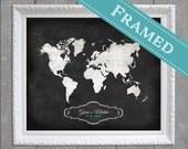 16x20 White FRAMED Wedding Guest Book Alternative World Map  -  16x20 - Custom Designed
